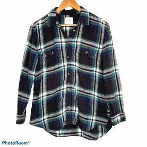 American Eagle Green and Blue Button Up Flannel SM